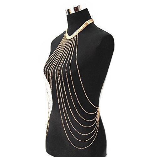 JoJo & Lin Gold Tone Body Chain Adjustable Harness with Fine Chain Multirow Necklace by JoJo & Lin (Image #1)