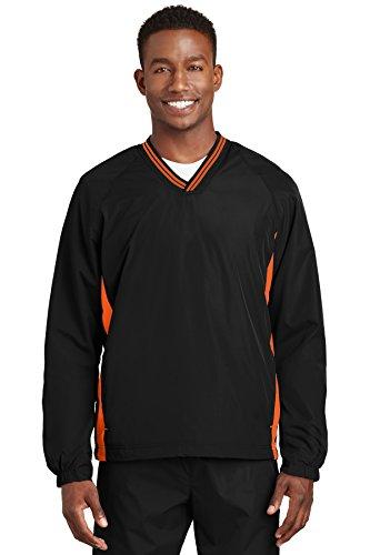 Sport-Tek Tipped V-Neck Raglan Wind Shirt. JST62 Black/ Deep Orange L - Tipped Jersey Sport Shirt