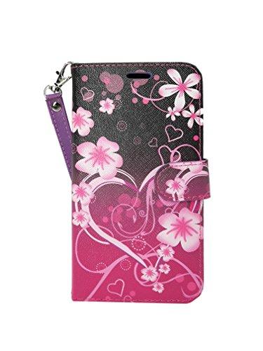 ZTE Blade V8 Pro Case, Customerfirst Flip Wallet Case Premium PU Leather Back Cover [Card Slots] [Stand] Folio Cover for ZTE Blade V8 Pro (Big Heart Pink)]()