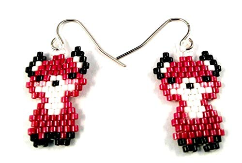 (Red and White Fox Sculptured Picture Seed Bead Dangle Earrings)
