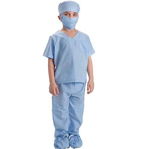 Kids Surgeon Costume (Dress Up America Blue Children Doctor Scrubs Toddler Costume Kids Doctor Scrub's Pretend Play)