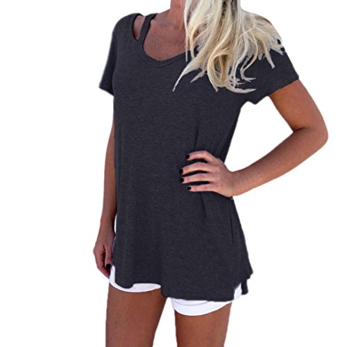 CUCUHAM Fashion Women Summer V-Neck Short Sleeve T-Shirt Casual Tee Tops Blouse (L, Dark Gray)