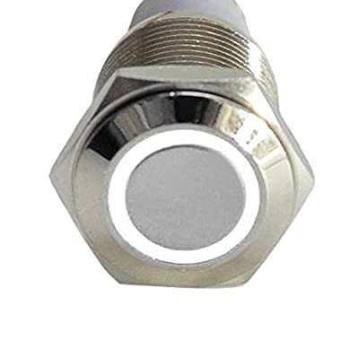 ESUPPORT 16mm 12V 3A Car White Light Angel Eye Metal Push Button Switch Socket: Automotive