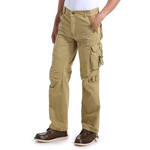 Eaglide Men's Regular-Fit Pockets Cotton Tactical Cargo Pants (Khaki, 34W × 32L) (Pocket Mens Pants Cargo)