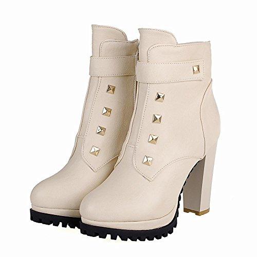 Carolbar Womens Rivet Zipper Fashion Elegance Chic Studded Platform High Heel Short Dress Boots Beige HqAxG
