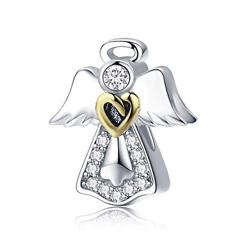 MallDou Jewelry Angel Wing Heart Shape Charm Gold Plated Bead Charms for Pandora Charms Bracelet Necklace (Angel Wing Charm)