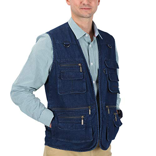 LUSI MADAM Men's Denim Vests Pockets Leisure Outdoor Thick Vest Jacket US 3XL/Asia 6XL -