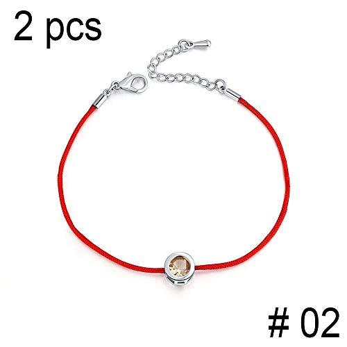 Aarring 2 Pcs/Lot Charm Bracelets for Women Red Rope 6Mm Cubic Zirconia Tennis Bracelet Bangle Jewelry from Aarring