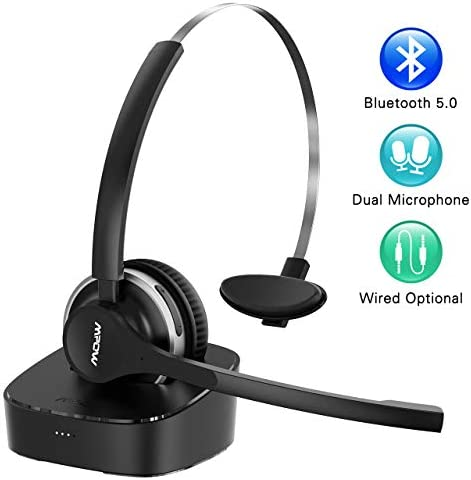 Mpow Bluetooth Headset V5.0Charging Base Wireless Headphones Dual Noise Canceling Microphone Single Ear Headset for Cell Phone Truck Driver Office Call Center Skype(Wired Option)