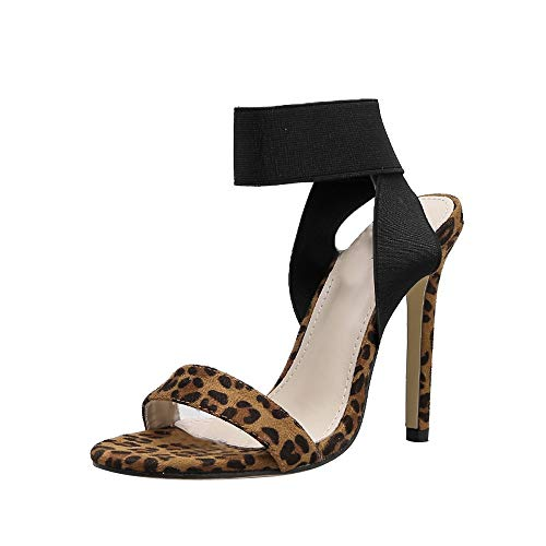 Limsea Women Sexy Shoes Leopard Cross Straps with A High Heels Pointed Cool Pumps Brown