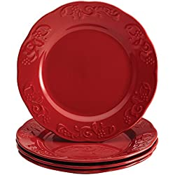 Dinnerware Spiceberry Collection 4-Piece Salad and Dessert Plate Set, Red