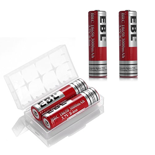 Price comparison product image EBL 18650 Battery Lithium-ion 3000mAh 3.7V Low Self Discharge Rechargeable Batteries, 4 Counts
