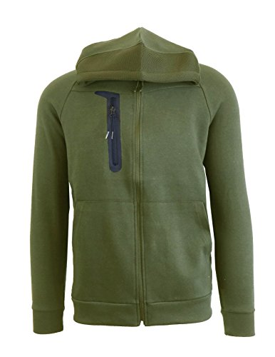 - Mens Fitted Tech Fleece Zip-Up Hoodie With Waterproof Zipper and Chest Pocket.