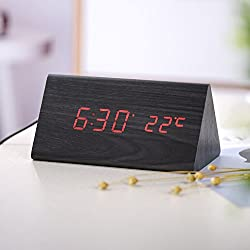 Wood Personal Alarm Clock, Accering LED Wooden Alarm Digital Dual Power Desk Clock, Voice Control, Display Time, Date, Week, Temperature and Humidity, Black