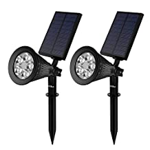KEALIVE Solar Powered Spotlight with 5 LEDs & Auto Light Sensor, Outdoor Waterproof Landscape Lighting for Yard, Garden, Path, Lawn (2 pack)
