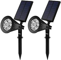 Kealive Lámpara Solar, Solar Spotlights Luces Ajustable de Jardín con 5 LEDs, Resistente al Agua, Auto On / Off Luz de Paisaje para Jardín, Césped, Calzada, etc (LT-KL2, Negro, 2 Unidades)