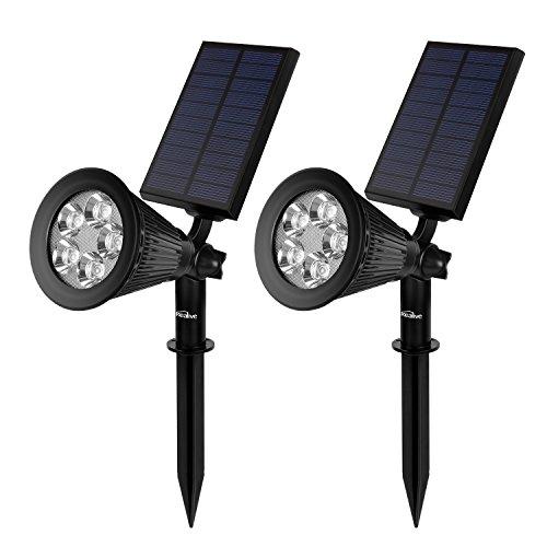 Kealive 2 Stück Solarbetriebene Lampe LED Solarleuchten Gartenleuchten Solarlampe Wasserdicht Spotlight Außenleuchte für Garten Rasen Landscape Auffahrt Yard Pathway