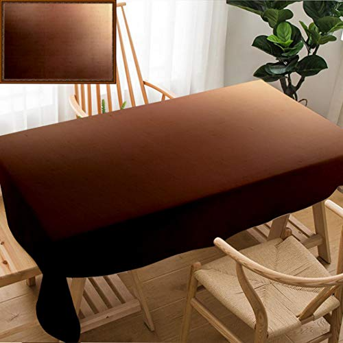 (Unique Custom Design Cotton and Linen Blend Tablecloth Matte Caramel Blurred Background Dark Beige and Chocolate Brown GradientTablecovers for Rectangle Tables, Small Size 48