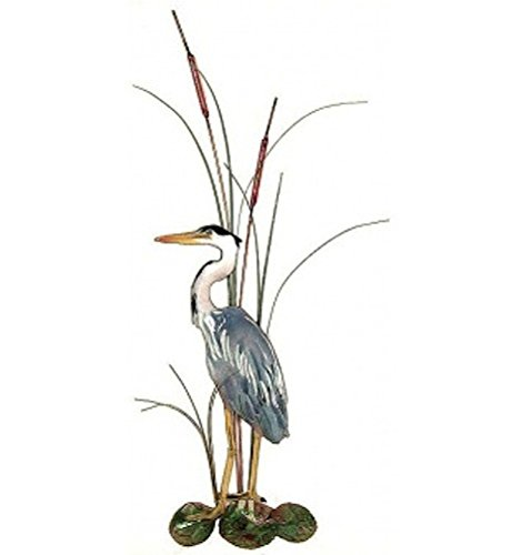 Bovano - Tabletop Sculpture - Great Blue Heron in Cattails - Left Facing made in New England