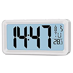 Easy Setting Dual Alarm Clock, Battery Operated Travel Clock, 5-inch Large Display Digital Clock with LED Backlight, Snooze, Indoor Temperature (℉/℃), Date, 12/24 Hour System, Powered by 2xAAA