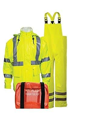 National Safety Apparel KITRLC3MD 3 Piece Arc Rated Rainwear Jacket, Bib Pant and Mesh Gear Bag Kit, Class 3, Medium, Fluorescent Yellow
