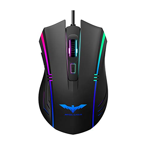Havit Gaming Mouse RGB Wired,6 Adjustable DPI(800-1600-2400-3200-4800-6400)