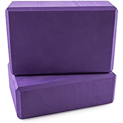 "Peace Yoga Foam Exercise Blocks Purple [9"" x 6"" x 3""] (2 pack)"