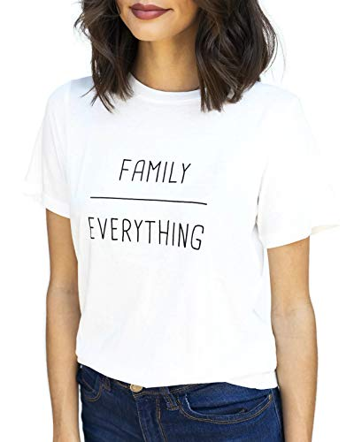 Steel Mill & Co Short Sleeve Graphic Tees Cotton Blend Crewneck T Shirts Sayings Juniors Women Plus Size (Family Over Everything, ()