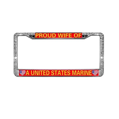 goodnolive Proud US Marine Wife License Plate Frame Cover USMC Semper FI Crystal Stainless Steel License Plate Holder Stainless Steel Car Licence Plate Covers for US Cars