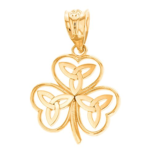 Elegant 14k Yellow Gold Irish Shamrock Pendant with Celtic Trinity Knot ()