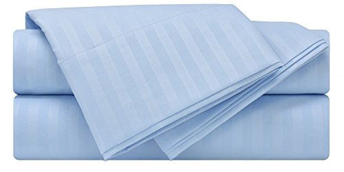 Mezzati Luxury Striped Bed Sheet Set - Soft and Comfortable 1800 Prestige Collection - Brushed Microfiber Bedding (Light Blue, Cal King Size) (Light Prestige Collection 16)