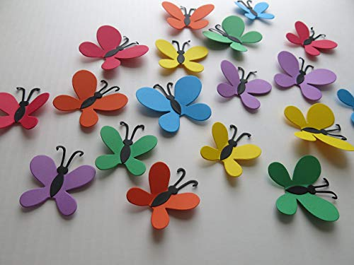 """Rainbow Butterfly Stickers, Set of 18 Pieces, Wall Decals, 2-3"""" Paper Butterflies, 3D Confetti"""