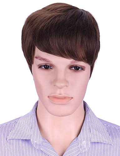 Subtle Male Halloween Costumes (Sotica Short Brown Wigs with Hair Bangs for Men Subtle Natural Curly Men's Toupee)