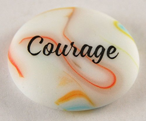 Courage Brightly Colored Frosted Glass Imprinted Word - Frosted Imprinted Glass