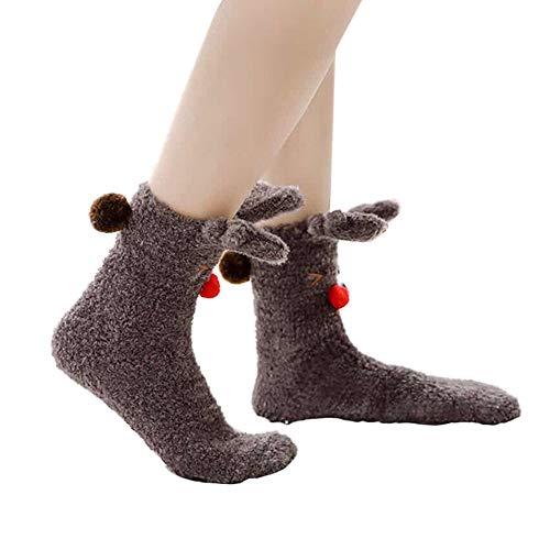 - Franterd Womens Girls Christmas Fluffy Fuzzy Socks Cute Animal Slipper Socks Warm Coral Fleece Floor Carpet Socks Medium Stockings Sleeping Socks