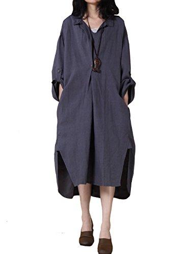 Mordenmiss Women's New Hi-Low Hem Plus Size Dresses with Pockets XL-Dark Blue
