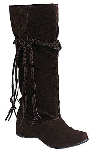 Damen Stiefel Neue Herbst-Winter-Aufladungen Schnee-Aufladungen Schuh-Frauen-Big Size 34.5- 41.5 Braun