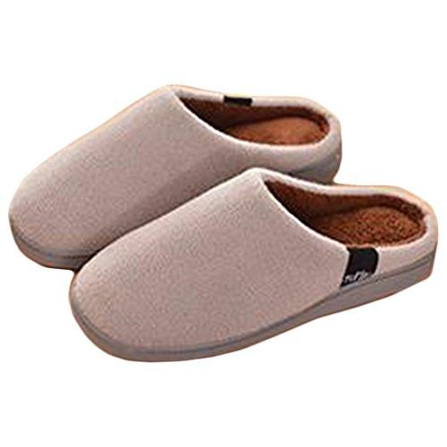 Wyhweilong Morbido Inverno Caldo Memory Foam Coral Fleece Pantofole Per Uomo E Donna Grigio