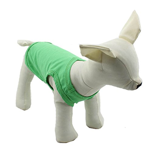 010 Green - Pet Clothing Dog Clothes Blank T-shirt Tee Shirts Tanks Top For Small Size Dogs Chihuahua 100% Cotton Puppy Dog Classic 11 Colors DTT-010 (M, Green)