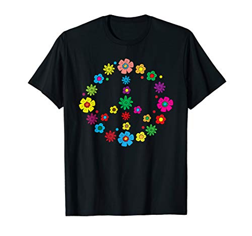 Peace Love | 60's 70's Hippie Costume Colorful Flowers T-Shirt