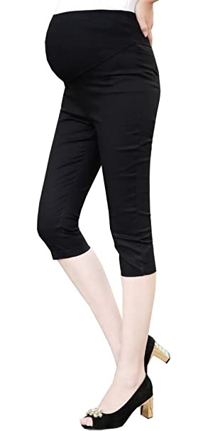 8df45c0ec2723 Foucome Women's Maternity Full-Panel Everyday Skinny Pants Capri Length  with Crossover Panel Black