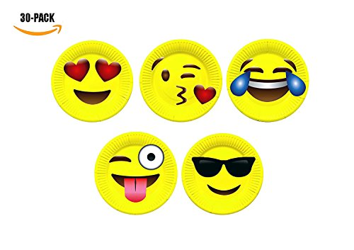 MoloTAR 30 Pack Emoji Party Paper Plates, 9 Inches,Includes Top 6 Most Popular Emojis | Perfect for Birthdays, Parties, Crafts, Prizes, and Games