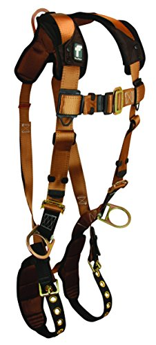 FallTech 7080SM3D ComforTech Non-Belted Full Body Harness with 3 D-Rings, Tongue Buckle Legs and Mating Buckle Chest, Brown/Black, Small/Medium -