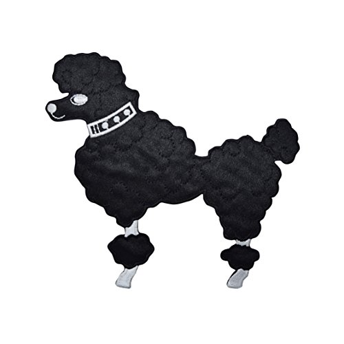 (Large Black Poodle - Facing Left - Iron on Applique/Embroidered)