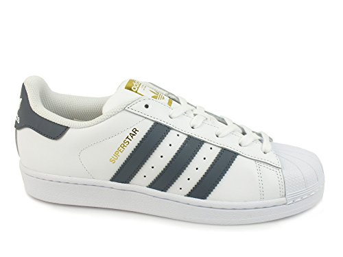 ADIDAS Superstar Foundation sneakers lacci uomo PELLE WHITE ONIX BIANCO BY3714
