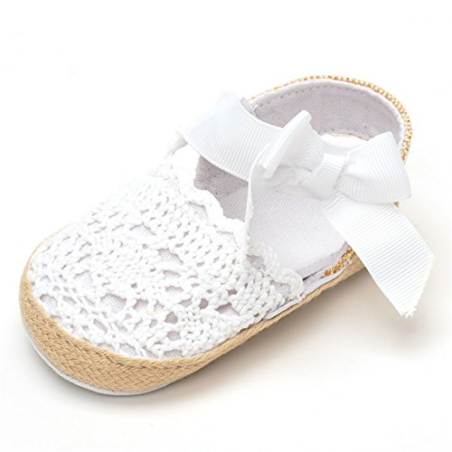 ESTAMICO Infant Girls' Net-Yarn Lace Bow Sandals White US 5