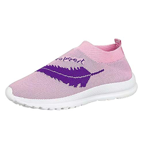 J-paty Lightweight Running Shoes Women Round Toe Slip-on Air Trainers Jogging Fitness Shock Absorbing Gym Athletic Sneakers Pink
