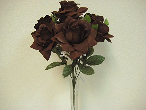 4 Bushes CHOCOLATE Open Roses 7 Artificial Silk Flowers 15