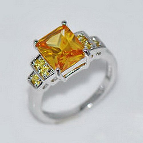 jacob alex ring 10*8MM Emerald Cut Yellow Topaz CZ Gem Wedding Ring Size6 White Gold Filled (Topaz Yellow Cufflinks)