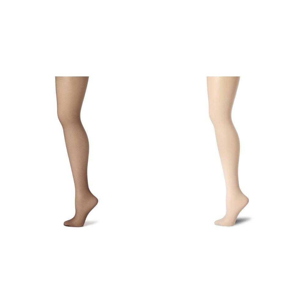 Hanes Women's Control Top Sheer Toe Silk Reflections Panty Hose, Barely Black/Grey, C/D by Hanes